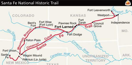 The Santa Fe Trail Routes Courtesy of the National Park Service